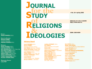 JSRI No. 10 - Journal for the Study of Religions and Ideologies (JSRI)