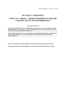 FP7 GRANT AGREEMENT ANNEX VII - FORM E