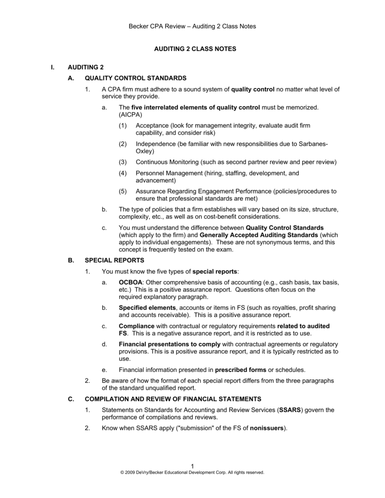 Becker CPA Review – Auditing 2 Class Notes 1 AUDITING 2 CLASS