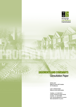 Property Laws, Easements and Covenants: Consultation Paper