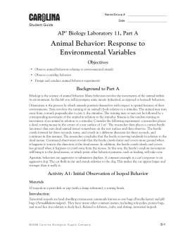 Animal Behavior: Response to Environmental Variables