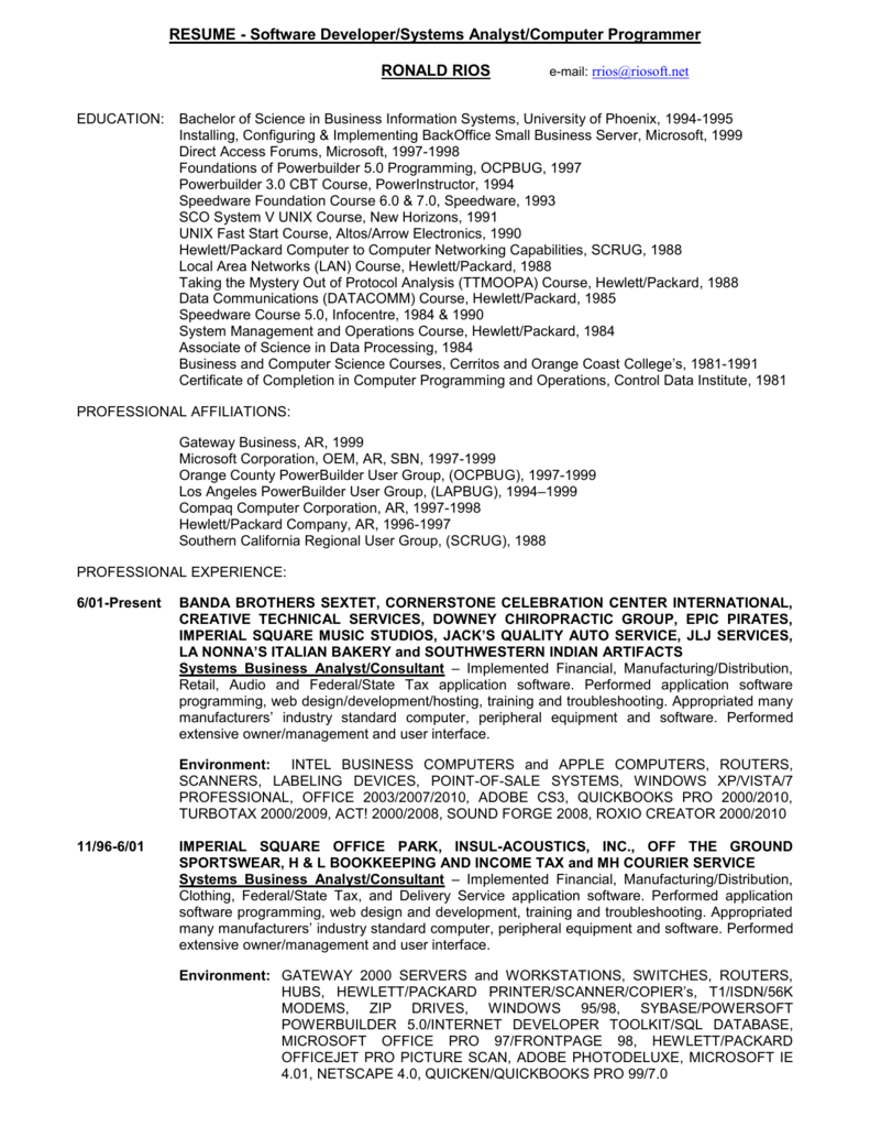 RESUME - Software Developer/Systems Analyst/Computer
