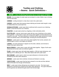 Textiles and Clothing —Seams: Quick Definitions—