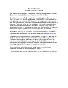 Research Associate University of British Columbia The Department