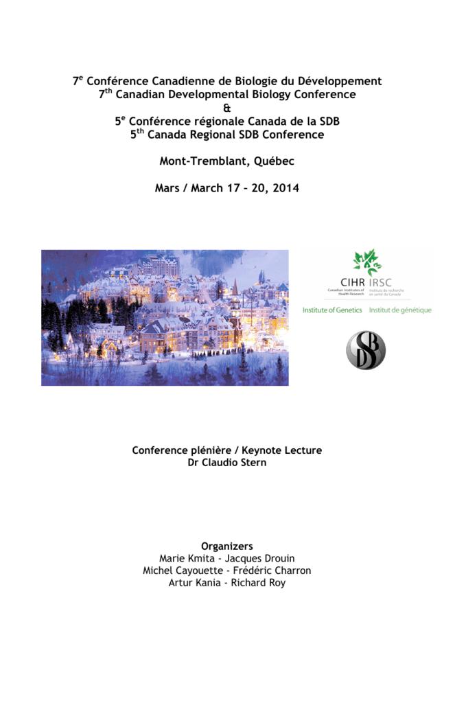 Ville Montréal Qc Ca Payer Constat >> 7e Conference Canadienne De Biologie Du Developpement