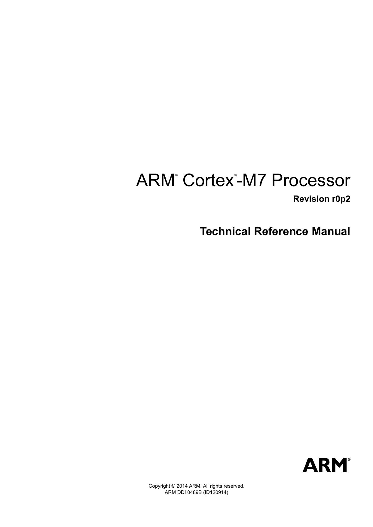 arm cortex m7 processor technical reference manual