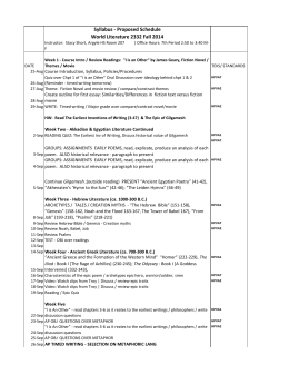 Syllabus - Proposed Schedule World Literature 2332 Fall 2014