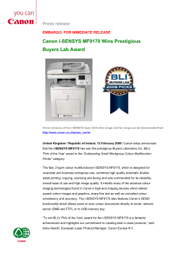 Canon i-SENSYS MF9170 Wins Prestigious Buyers Lab Award