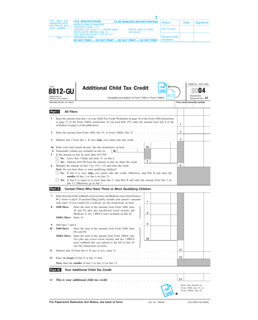 form 1040 child tax credit  Form 15-GU: Additional Child Tax Credit, 15