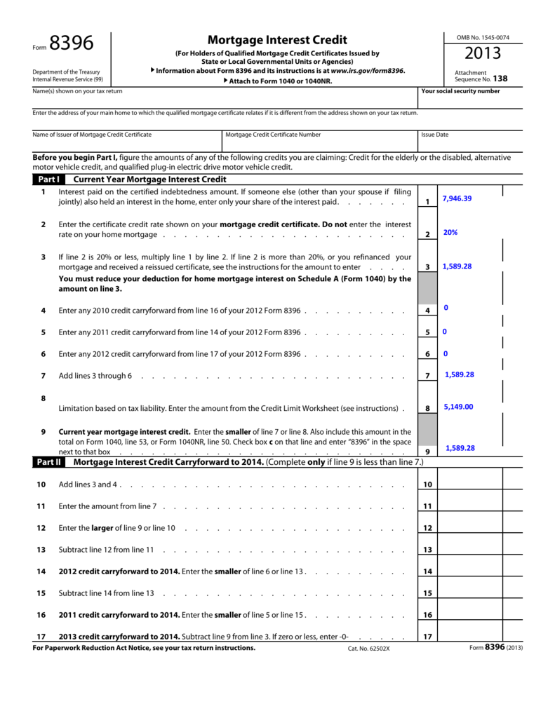 MCC Savings Tax Example - IRS Form 8396