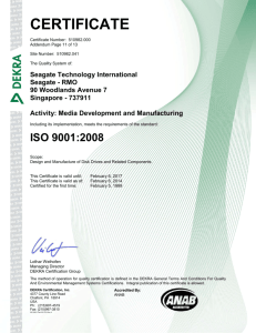 Seagate Technology LLC, ISO 9001:2008