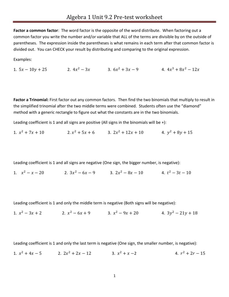 Algebra 1 Unit 9 2 Pre