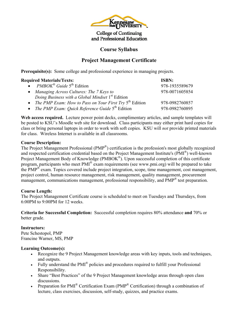 Course Syllabus Project Management Certificate