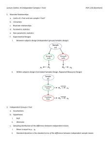 Lecture Outline 14 (Independent Samples t