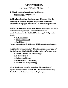AP Psychology Summer Work 2014-1015