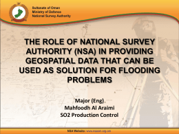 THE ROLE OF NATIONAL SURVEY AUTHORITY (NSA) IN