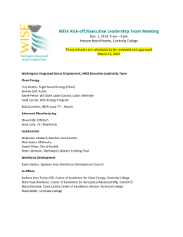 WISE Kick-off meeting minutes - Pacific Northwest Center of