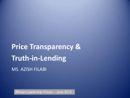Price Transparency & Truth-in-Lending