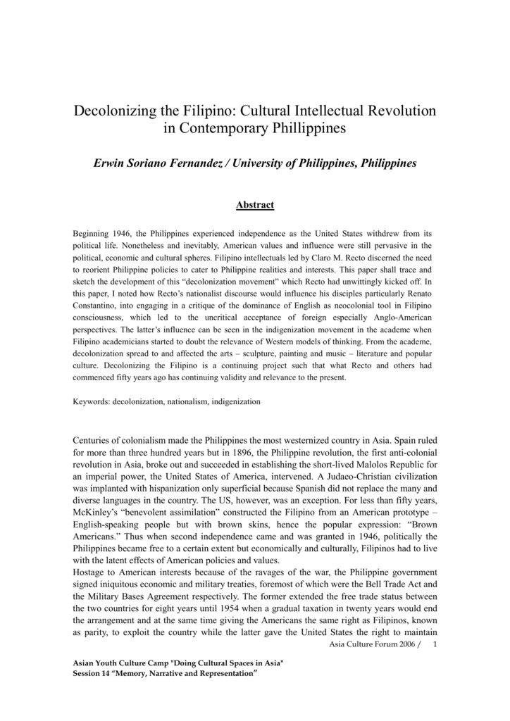 Decolonizing The Filipino Cultural Intellectual Revolution In  Business Plan Writers Pretoria also Professional Report Writing Services  Student Life Essay In English