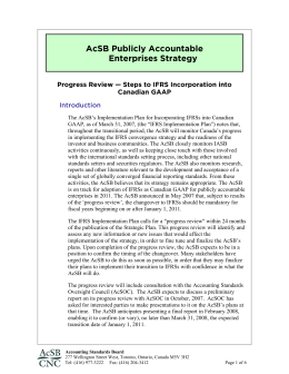 AcSB Strategy for Publicly Accountable Enterprises