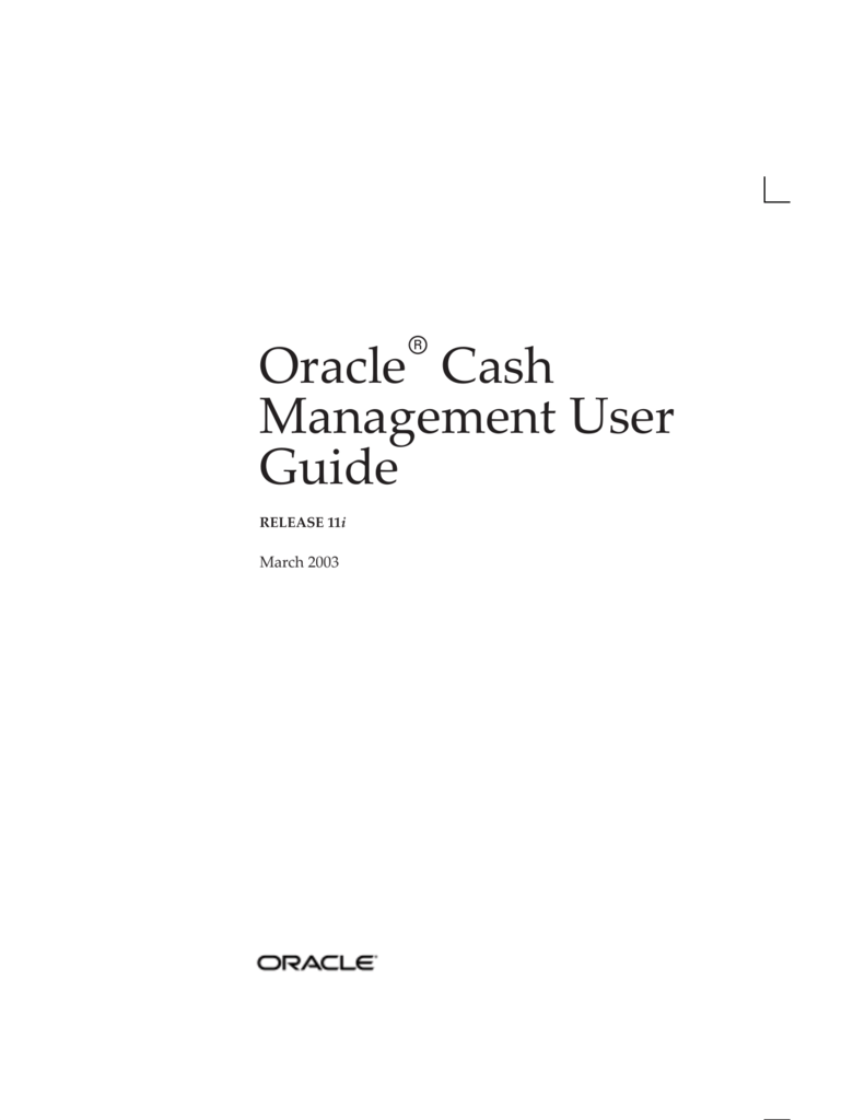 Oracle Cash Management User Guide