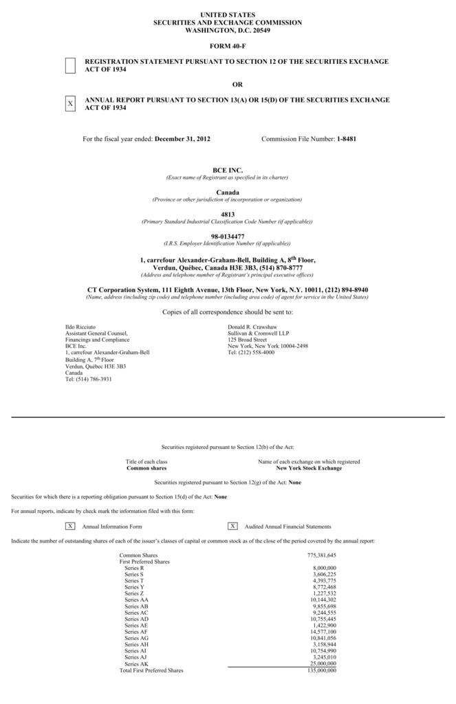 2012 Form 40 F