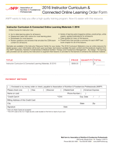 2016 Instructor Curriculum & Connected Online Learning Order Form