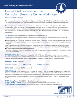 Contract Administration Core Curriculum (Resource Center Workshop)