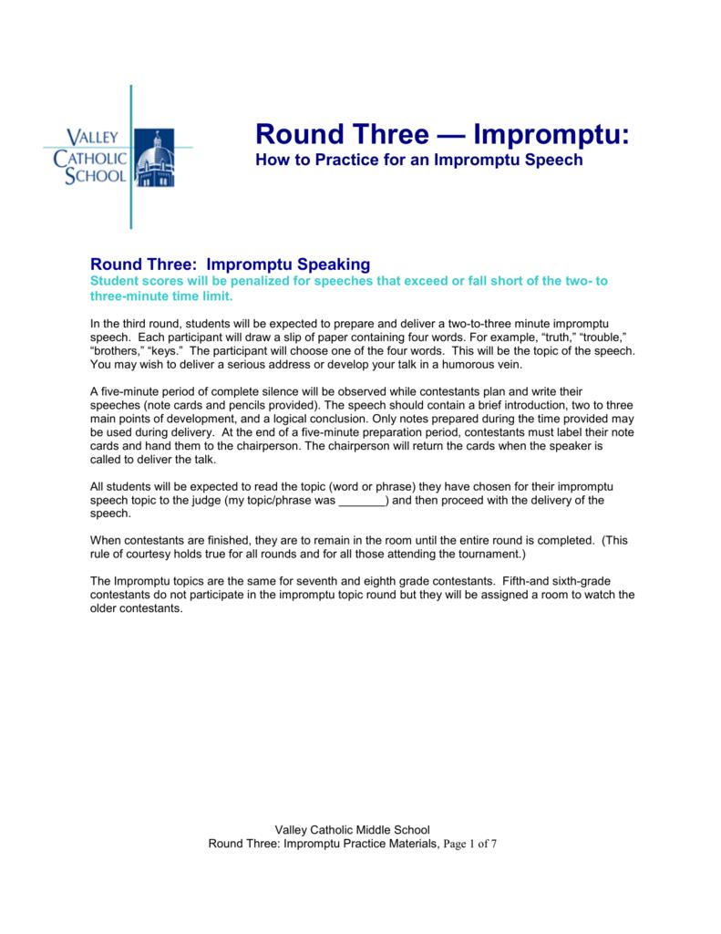 Round Three: Impromptu - Valley Catholic School