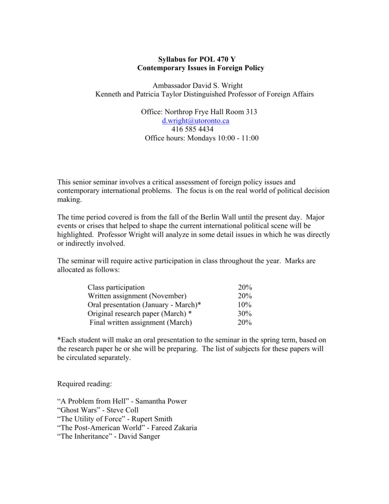 Syllabus for POL 470 Y Contemporary Issues in Foreign Policy