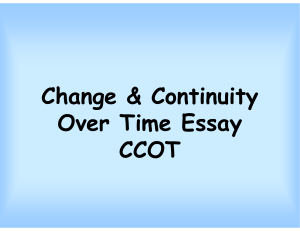Change & Continuity Over Time Essay CCOT