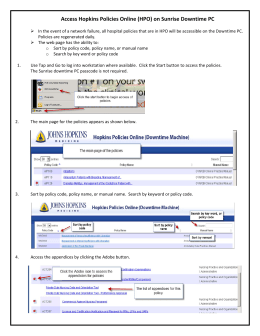 Hopkins Policies Online (HPO) Service Interruption