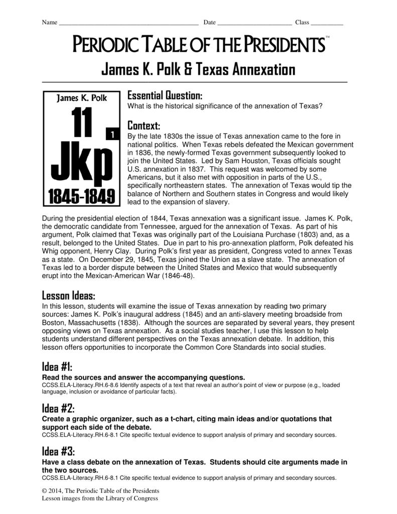 James K Polk Texas Annexation