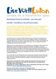 Marketing & Events Co-ordinator – part time post £22,000 – £25,000