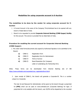Modalities for using corporate account in E-Auction