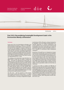 Post 2015: Reconsidering Sustainable Development Goals: Is the