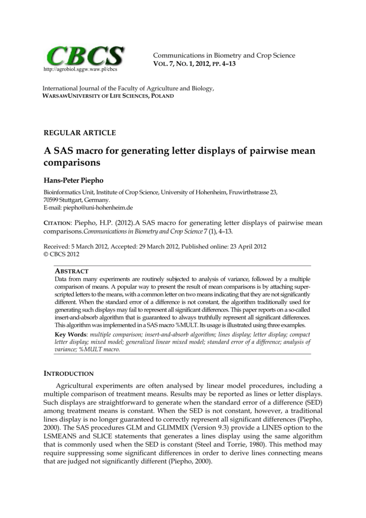 A SAS macro for generating letter displays of pairwise mean