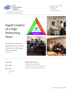 Rapid Creation of a High Performing Team