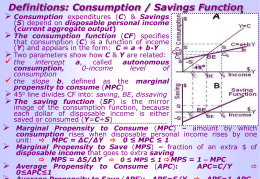 Topic 4: Consumption, Saving, Investment