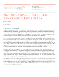 Working Paper: State Green Banks for Clean Energy This paper