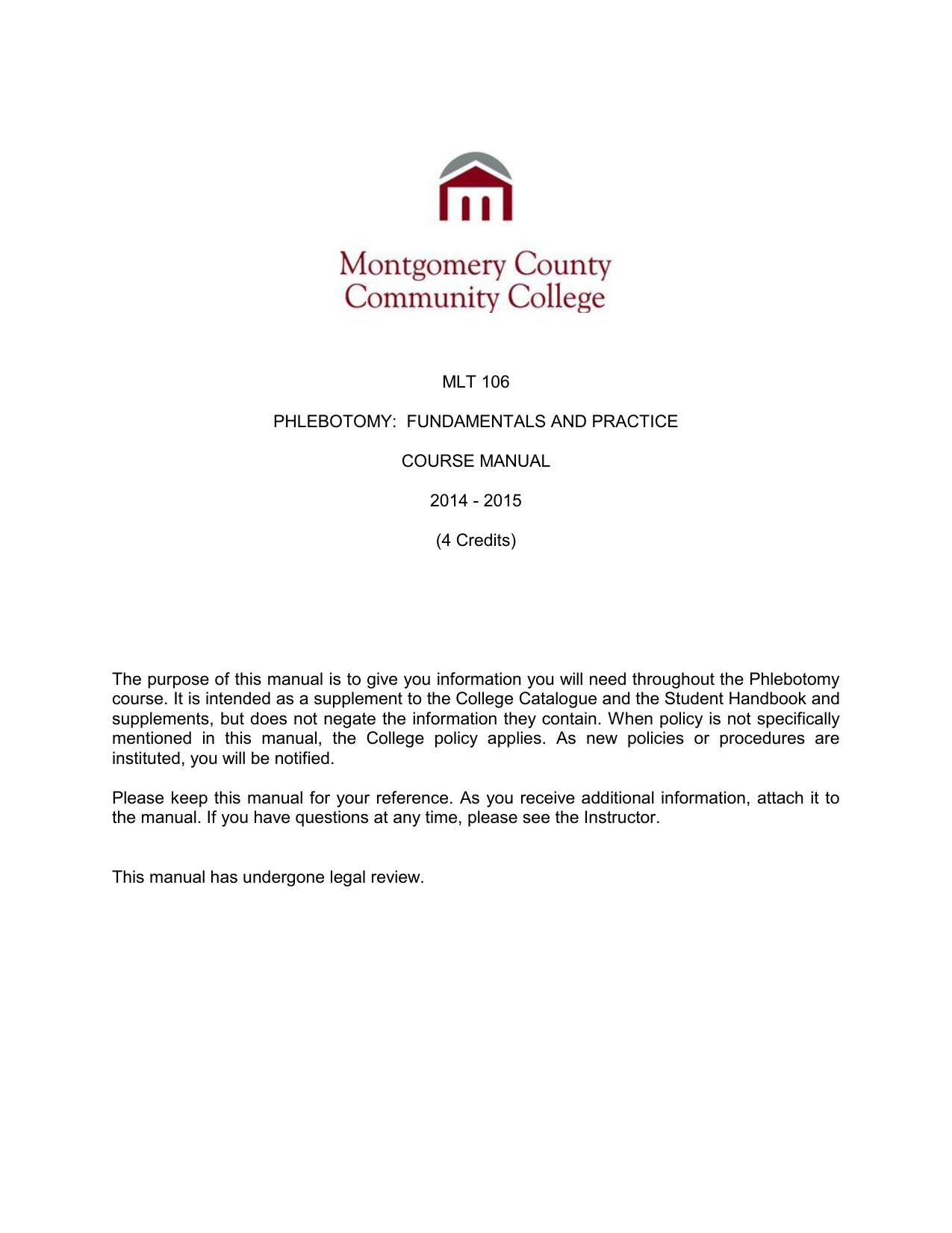 Mlt 106 Phlebotomy Montgomery County Community College
