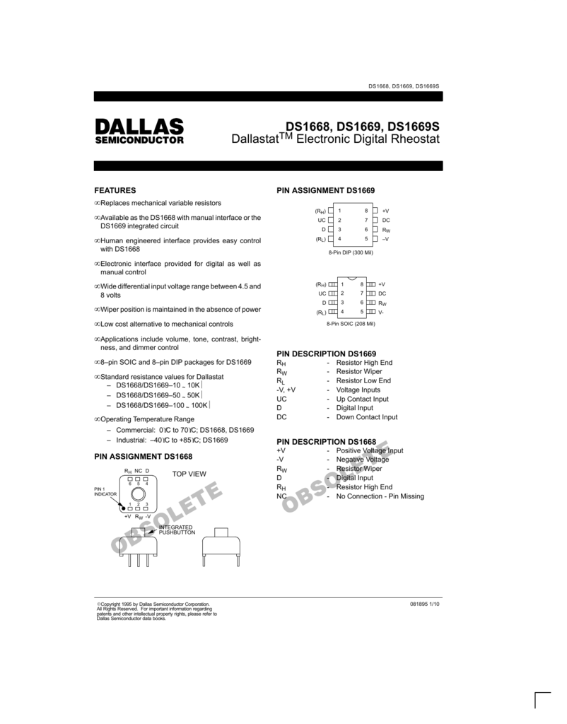 ds1668 ds1669 ds1669s dallastat electronic digital rheostatThe Ds1669 Is An Electronic Digital Rheostat Manufactured By Dallas #3