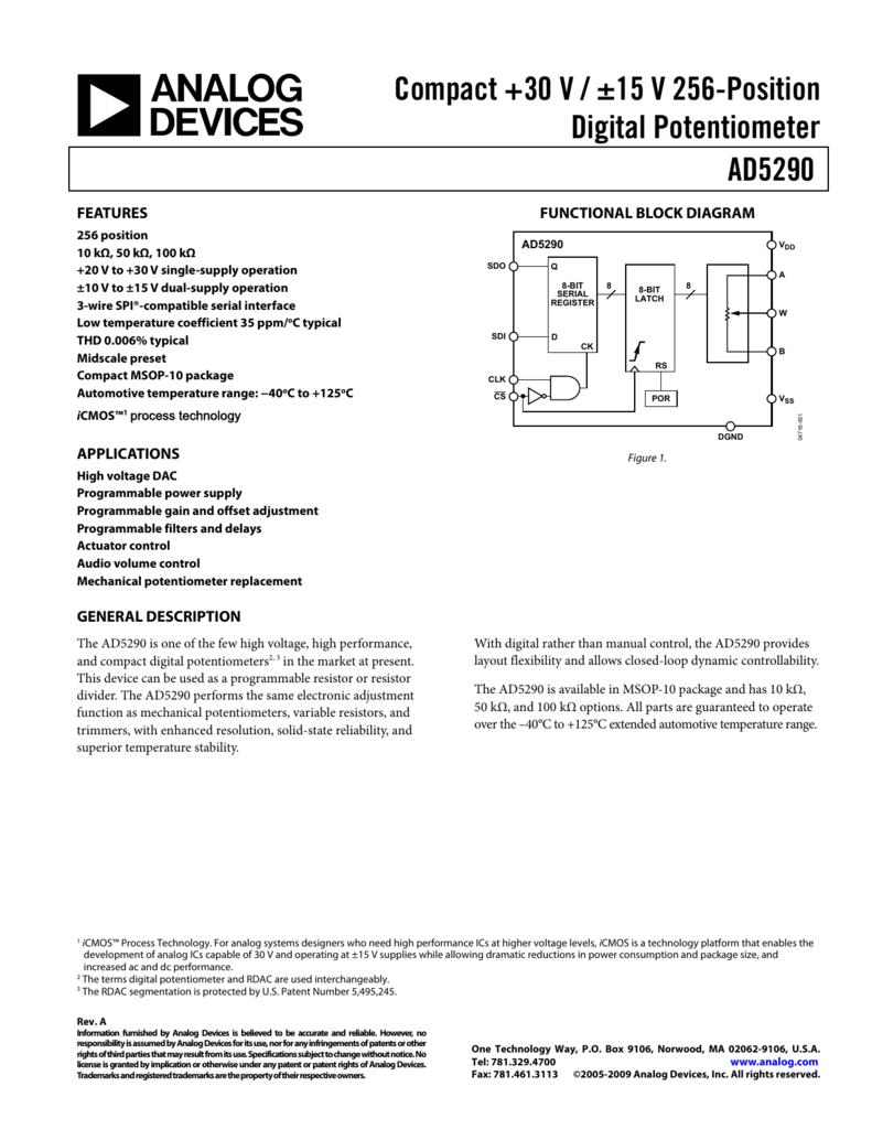 Ad5290 Compact 30 V 15 256 Position Digital Potentiometer Wiring Variable Resistor