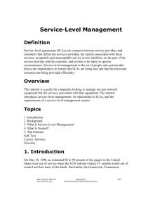Service Level Management - Sheffield Hallam University