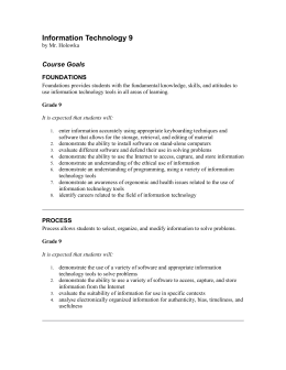 Information Technology 9 Course Outline