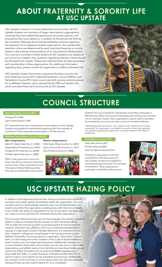 ABOUT FRATERNITY & SORORITY LIFE USC UPSTATE HAZING