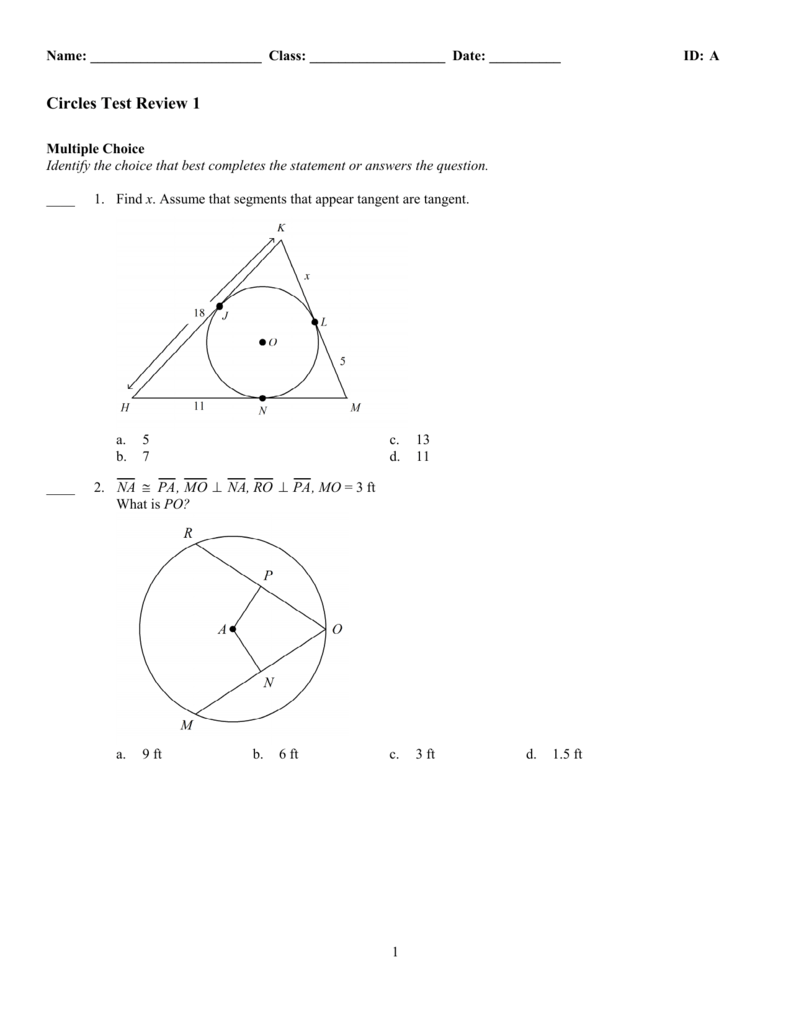 ExamView - circles Test review 1 tst
