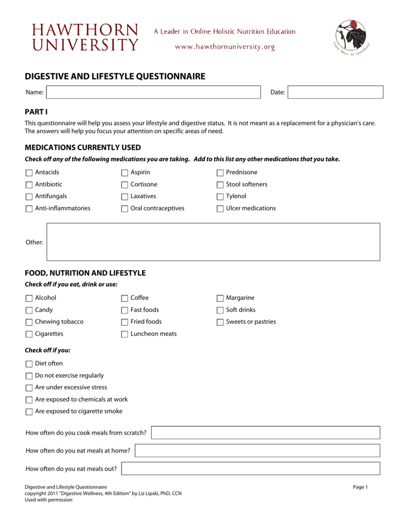 DIGESTIVE AND LIFESTYLE QUESTIONNAIRE