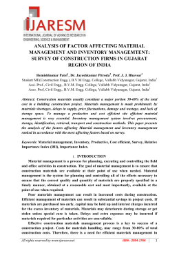 ANALYSIS OF FACTOR AFFECTING MATERIAL MANAGEMENT