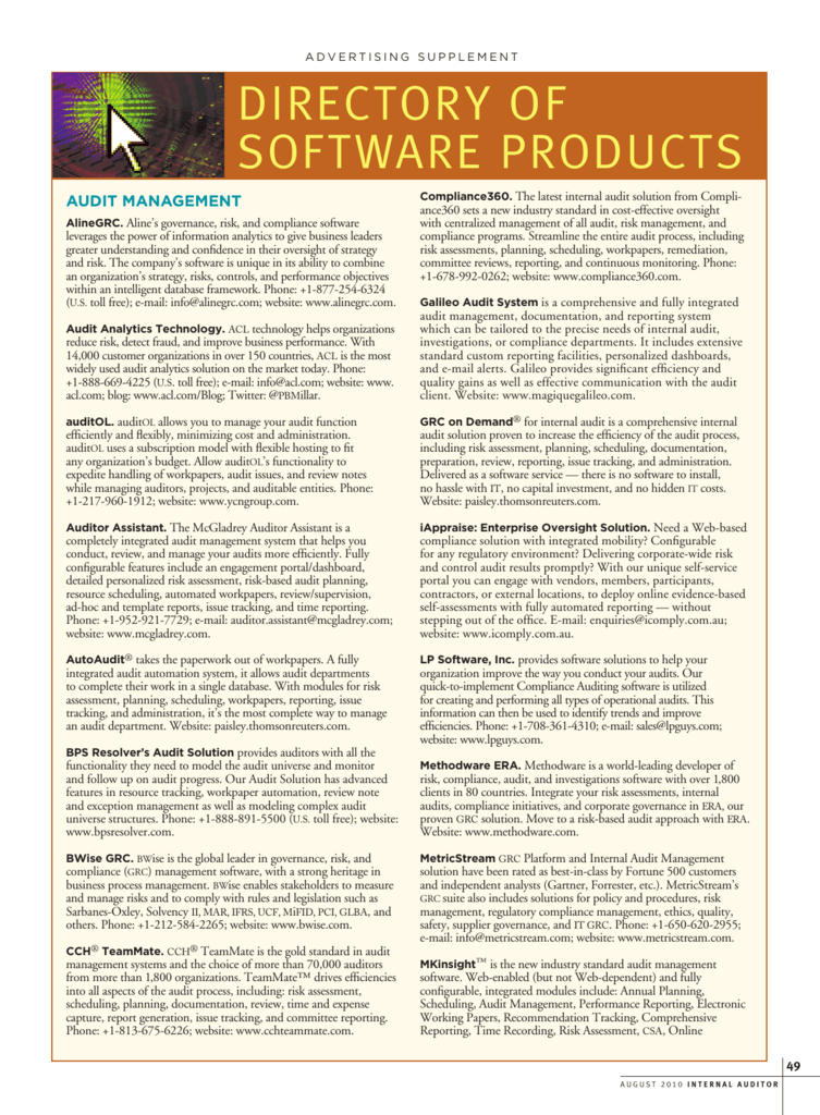 directory of software products